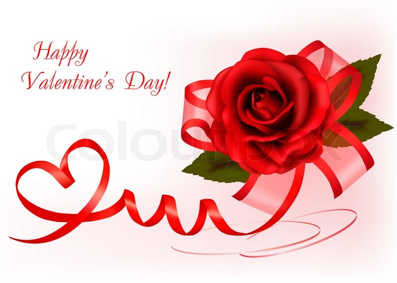 valentines day background. red rose with gift red bow.  stock, Natural flower