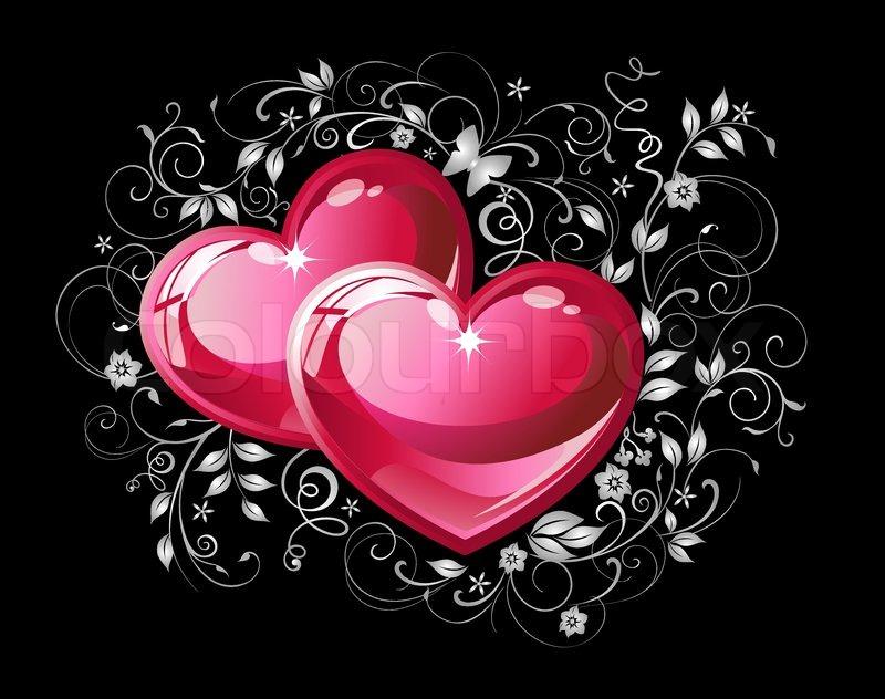 Paar rote Herzen auf schwarzem ... | Stock-Vektor | Colourbox