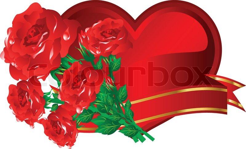 Schönes Herz Mit Rosen Zum Valentinstag Vektor Illustration, Stock Vektor