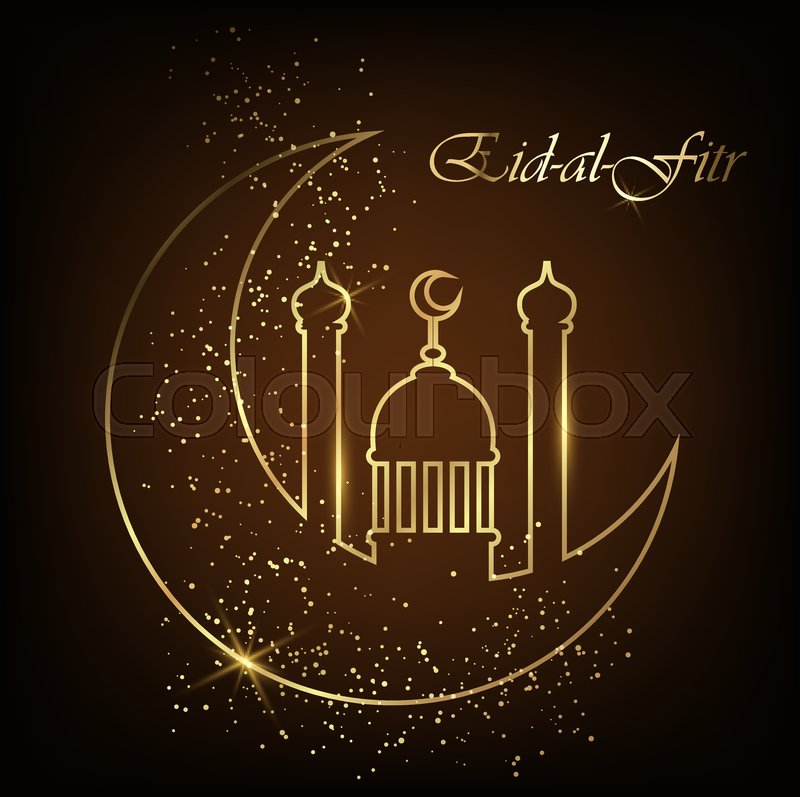 Eid al fitr greeting card with line mosque dome moon and golden eid al fitr greeting card with line mosque dome moon and golden sand eid mubarak vector illustration on black background stock vector colourbox m4hsunfo