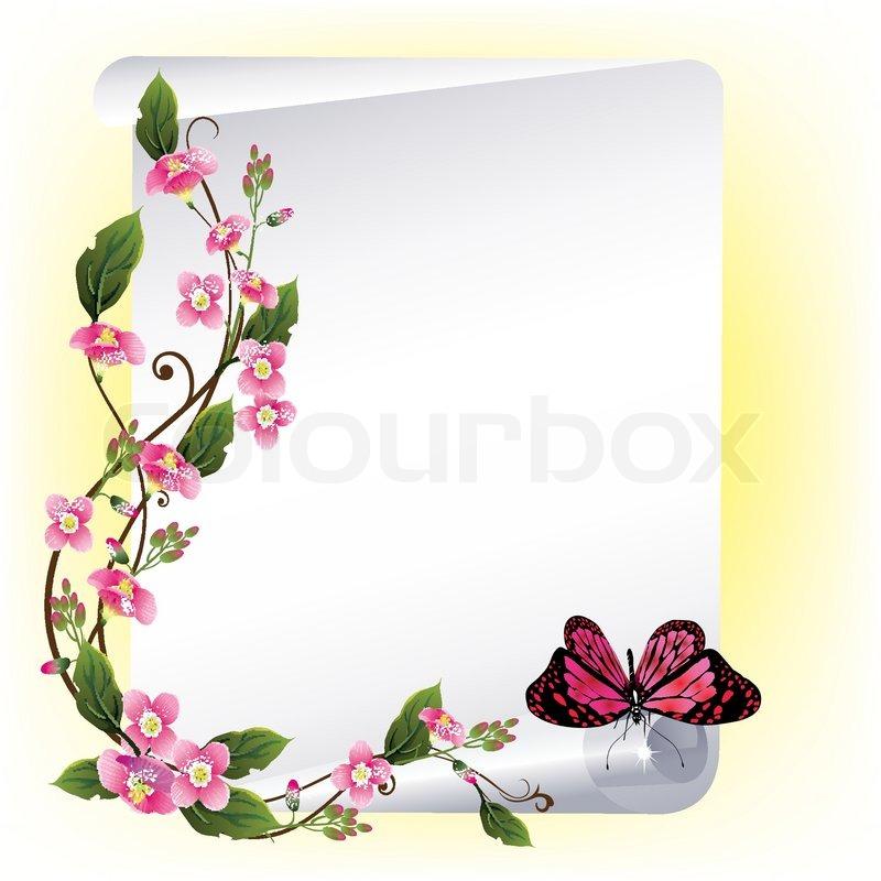 Vektor-Rahmen mit schönen Blumen und Schmetterling | Vektorgrafik ...