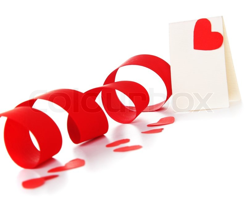 blank card with red heart ribbon isolated on white background conceptual image of love valentines day holiday stock photo colourbox - Valentine Ribbon