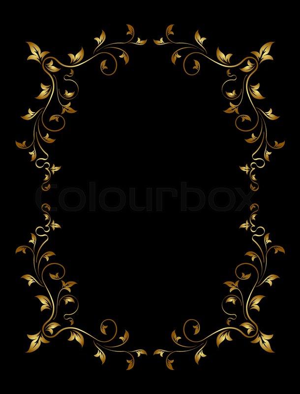 Old Gold Frame On Black Background Stock Vector Colourbox