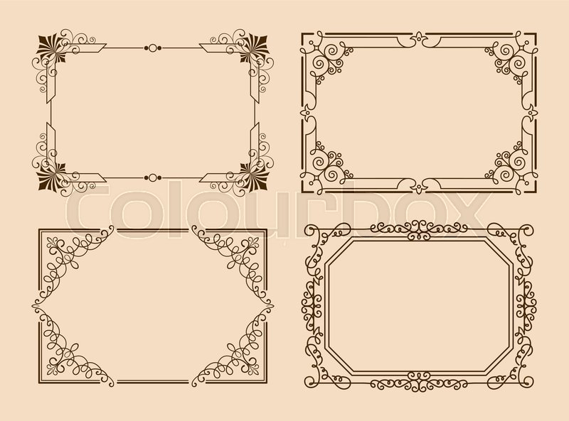 Rectangular borders with curved elements and lines, victorian frames ...