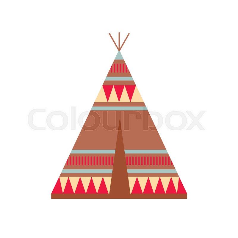 Indian Wigwam With Ornamental Elements Ethnic Tribal Teepee Boho