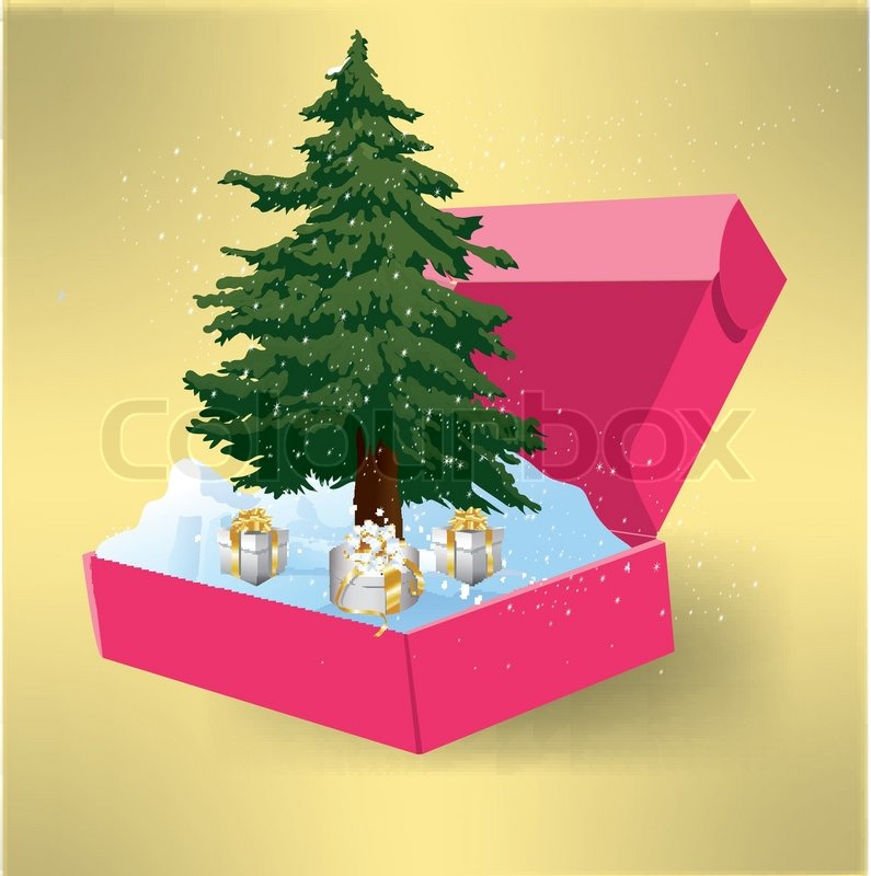christmas tree in a box with gifts stock vector colourbox - Christmas Tree In A Box