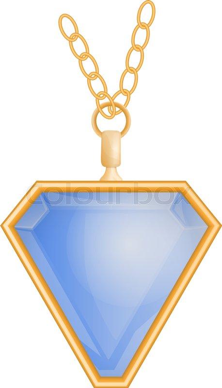 Blue topaz pendant mockup  Realistic     | Stock vector | Colourbox