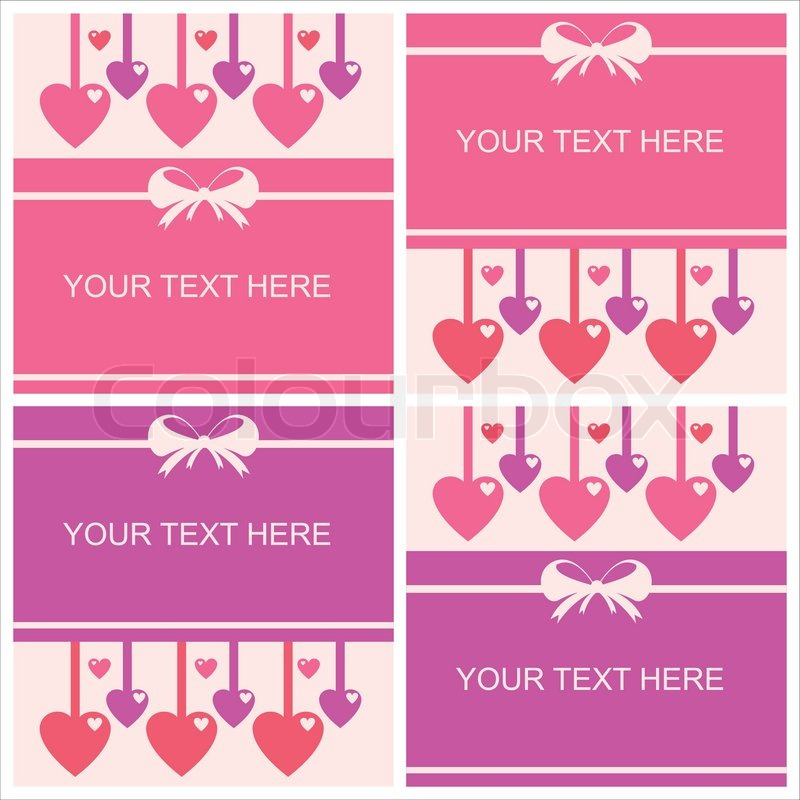 Set of 4 cute st valentines day cards Vector – Saint Valentine Card