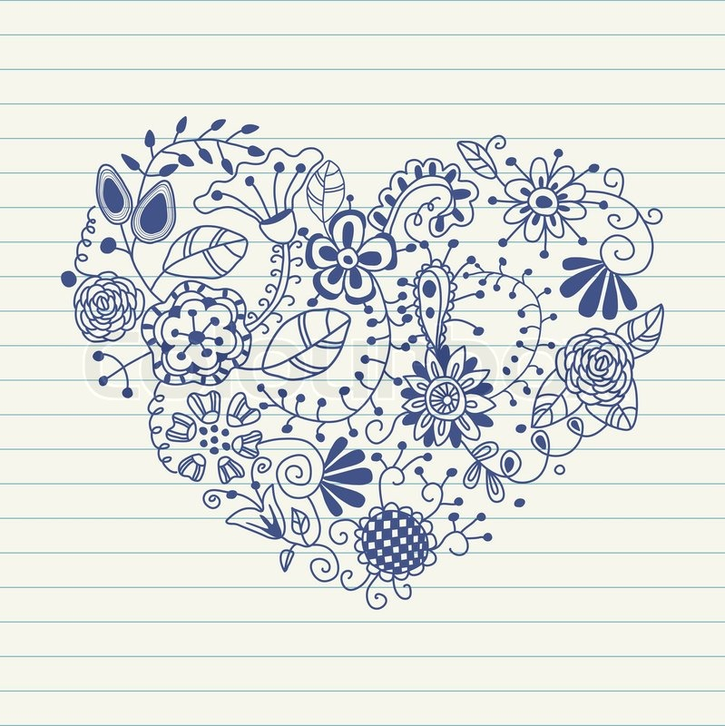 Floral Heart Heart Made Of Flowers Doodle Heart Stock