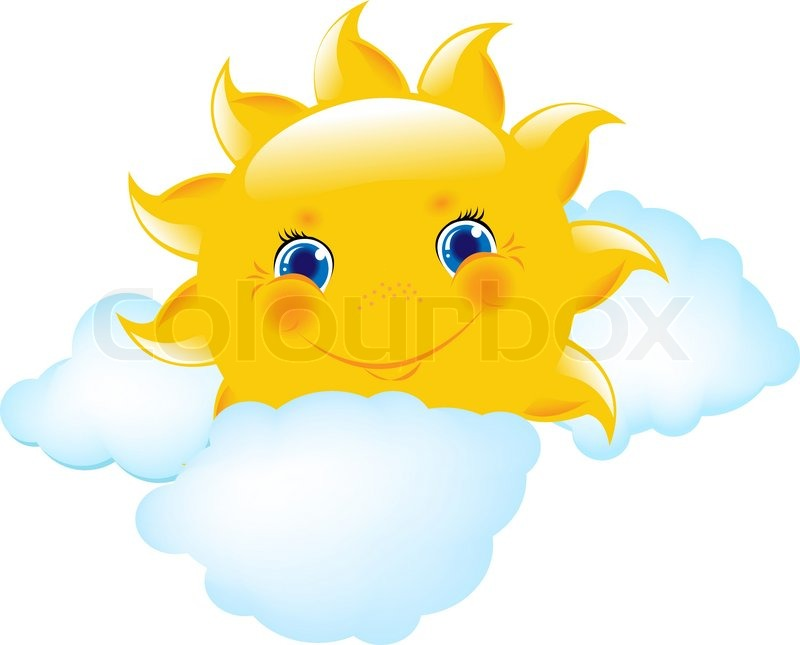 Stock vector of 'Cartoon Sun And Cloud, Vector Illustration'