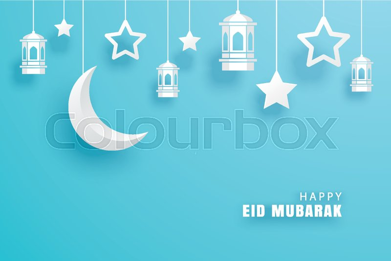 Happy eid mubarak greeting card with with crescent moon paper art happy eid mubarak greeting card with with crescent moon paper art background ramadan kareem vector illustration use for banner poster flyer m4hsunfo