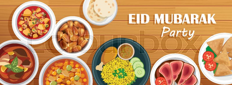 Eid mubarak party cover and banner with food on wooden background eid mubarak party cover and banner with food on wooden background ramadan kareem vector illustration use for greeting card invitations poster flyer stopboris Choice Image