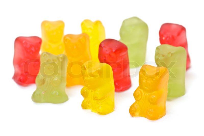 Gummibärchen Süßigkeiten auf weißem Hintergrund   Stockfoto   Colourbox