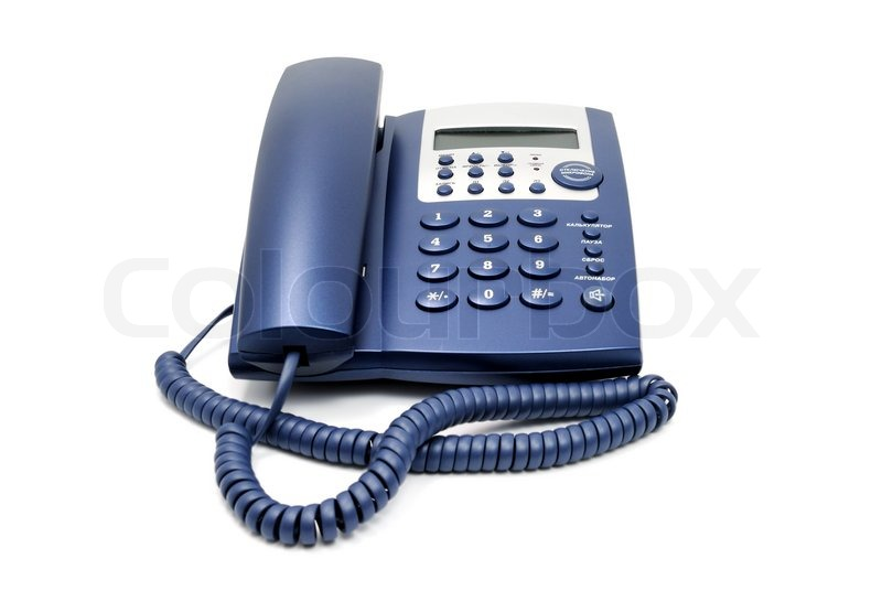 modern blue business office telephone isolated on a white background