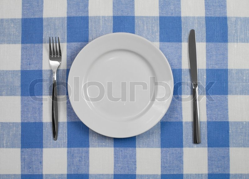 Knife, White Plate And Fork On Blue Checked Tablecloth | Stock Photo |  Colourbox