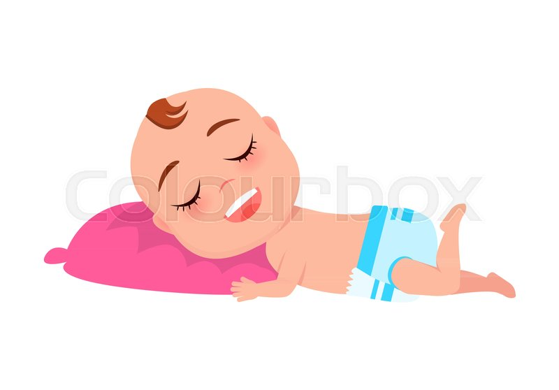 Surprising Baby Infant In Diaper Sleeping On Pink Stock Vector Unemploymentrelief Wooden Chair Designs For Living Room Unemploymentrelieforg