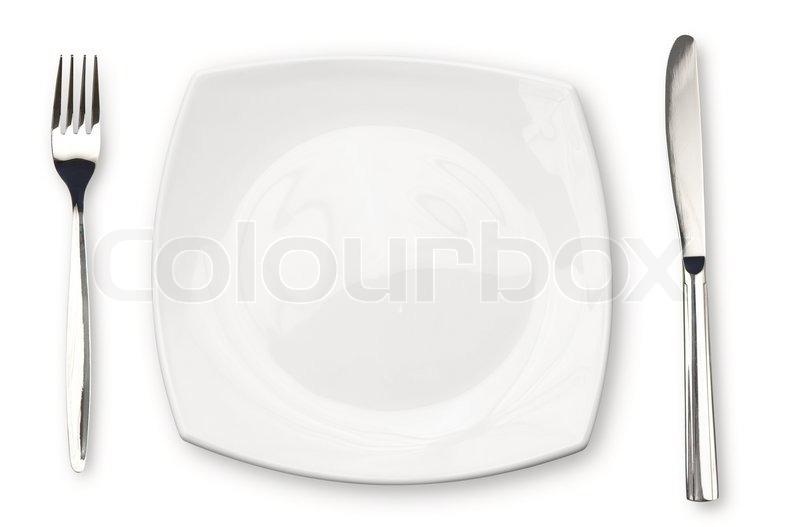 messer weiße platte und gabel isoliert  stock bild