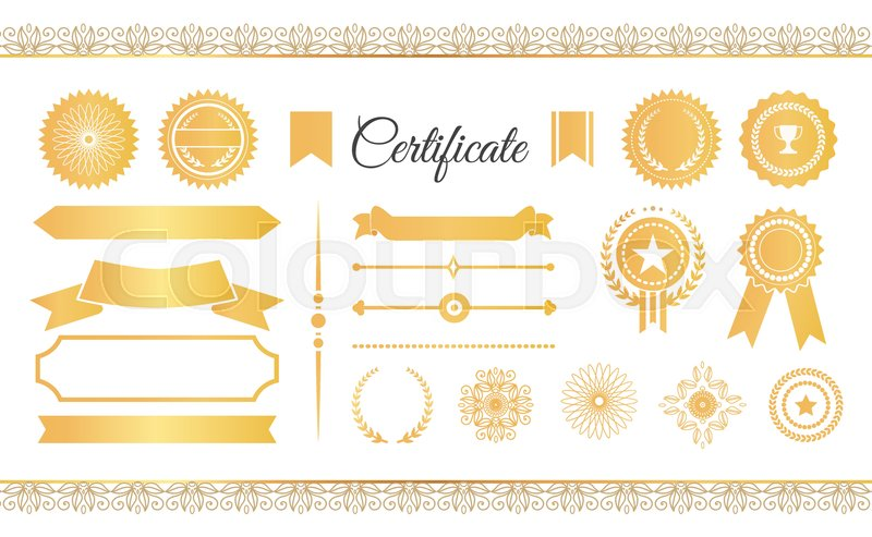certificate labels awards and ribbons golden labels and stamps