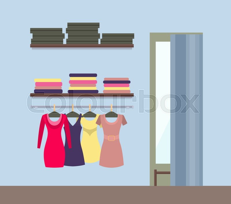 d88fba26ea9 Stock vector of  Fitting room and women s clothing store shop window with  clothes and