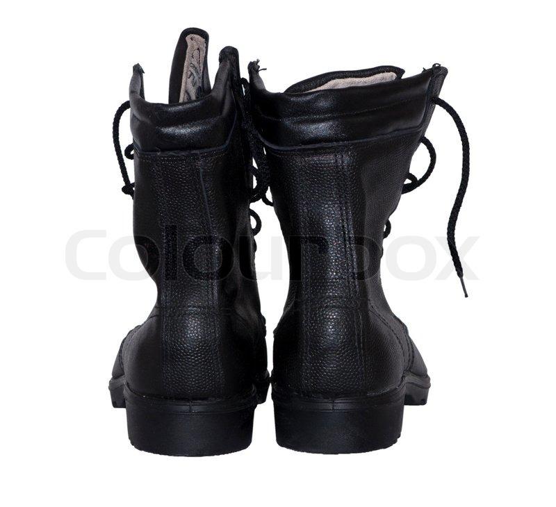 Sort læder støvler på en hvid | Stock foto | Colourbox