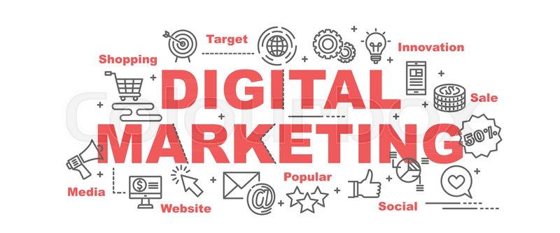 digital marketing vector banner design stock vector colourbox digital marketing vector banner design