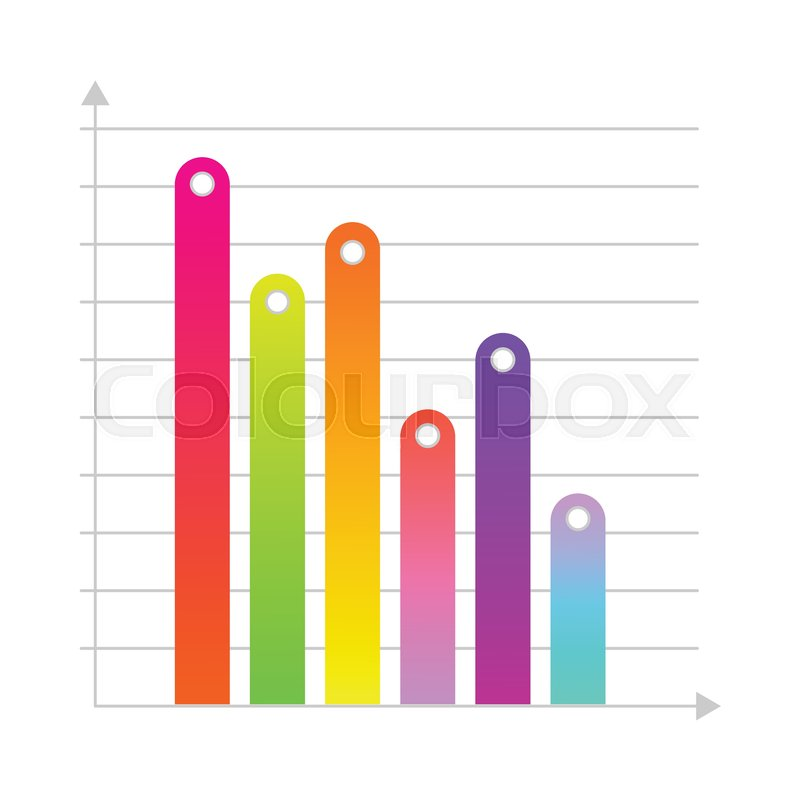 Business linear vertical histogram, bar chart with colored bars ...