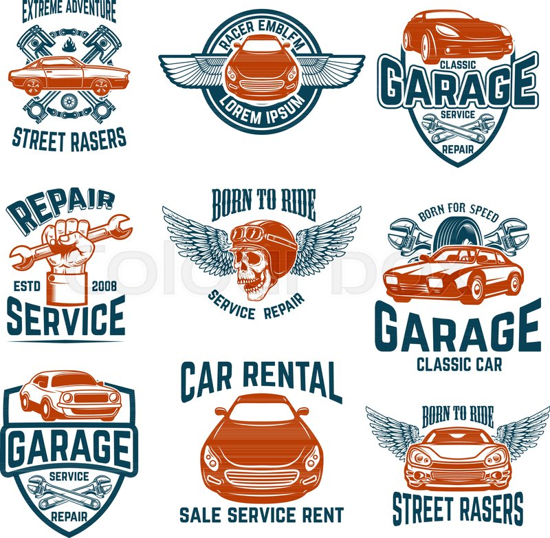 Car Repair Garage Auto Service Emblems Design Elements