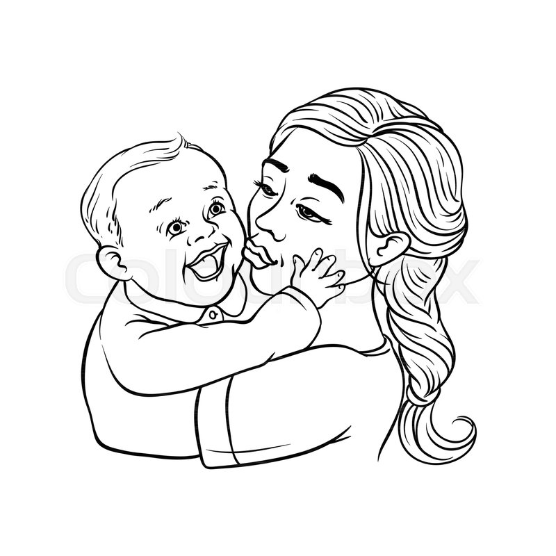 Young Mother Holding In Arms And Stock Vector Colourbox