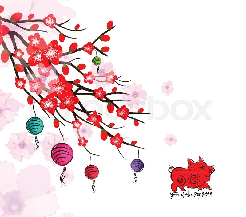 Chinese New Year card with plum blossom and lantern | Stock Vector ...