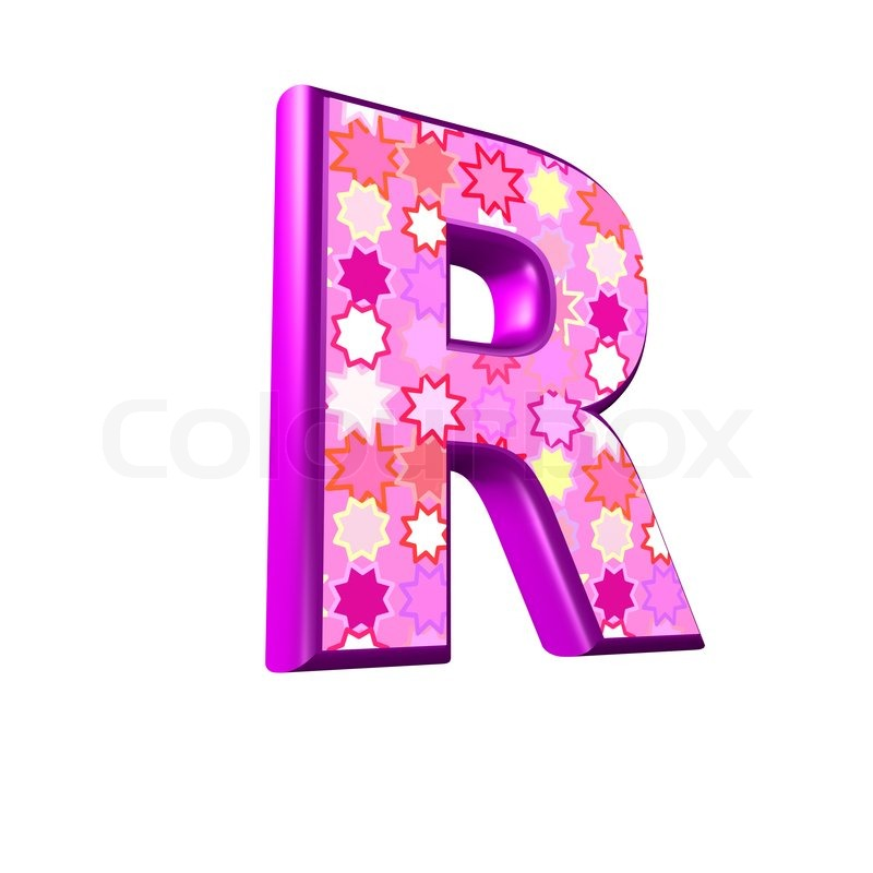 3d pink letter isolated on a white background - r | Stock ...