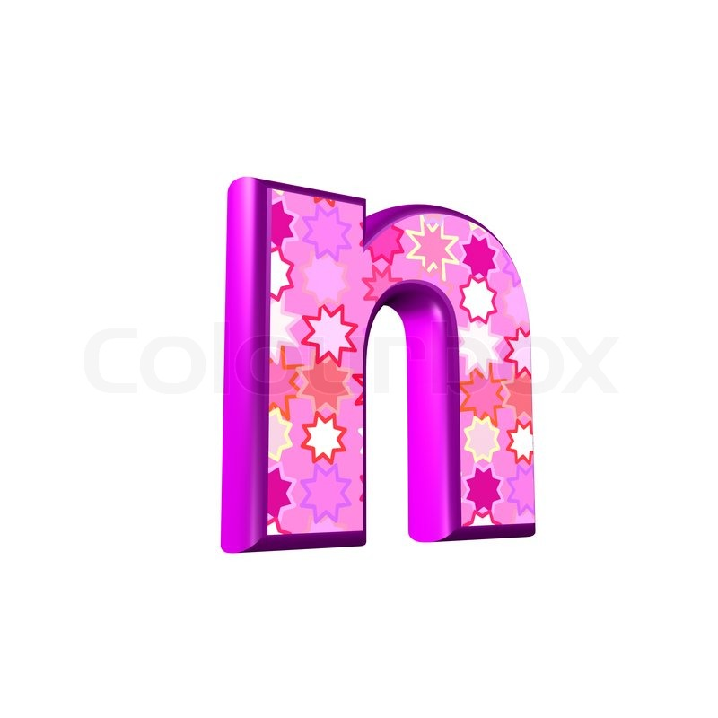 3d pink letter isolated on a white background - n | Stock ...
