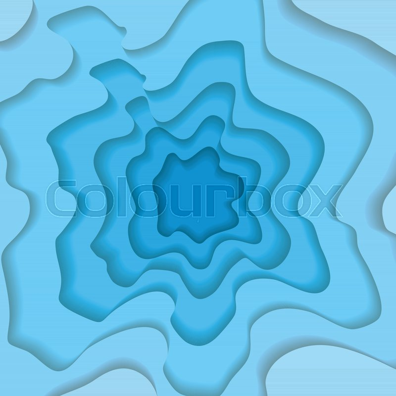 Abstract Wavy Square Blue Paper Cut Stock Vector