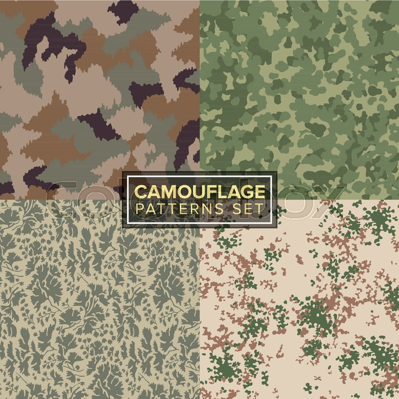 Camouflage pattern set  four different     | Stock vector
