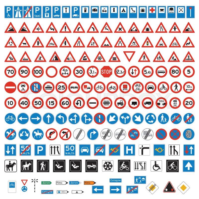 Road Signs And Symbols Set Stock Vector Colourbox