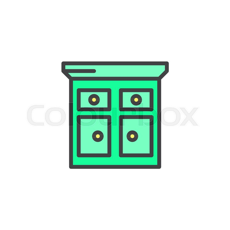 Kitchen Cabinet Filled Outline Icon Stock Vector Colourbox
