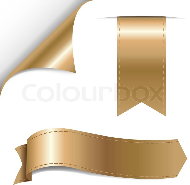 Gold Ribbons Set Vector Illustration Stock Vector