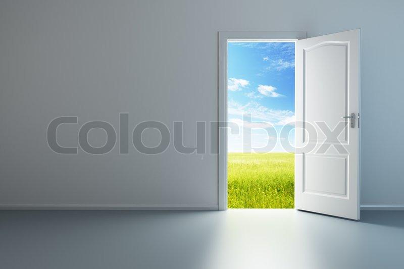 & 3d rendering the empty room with opened door   Stock Photo   Colourbox