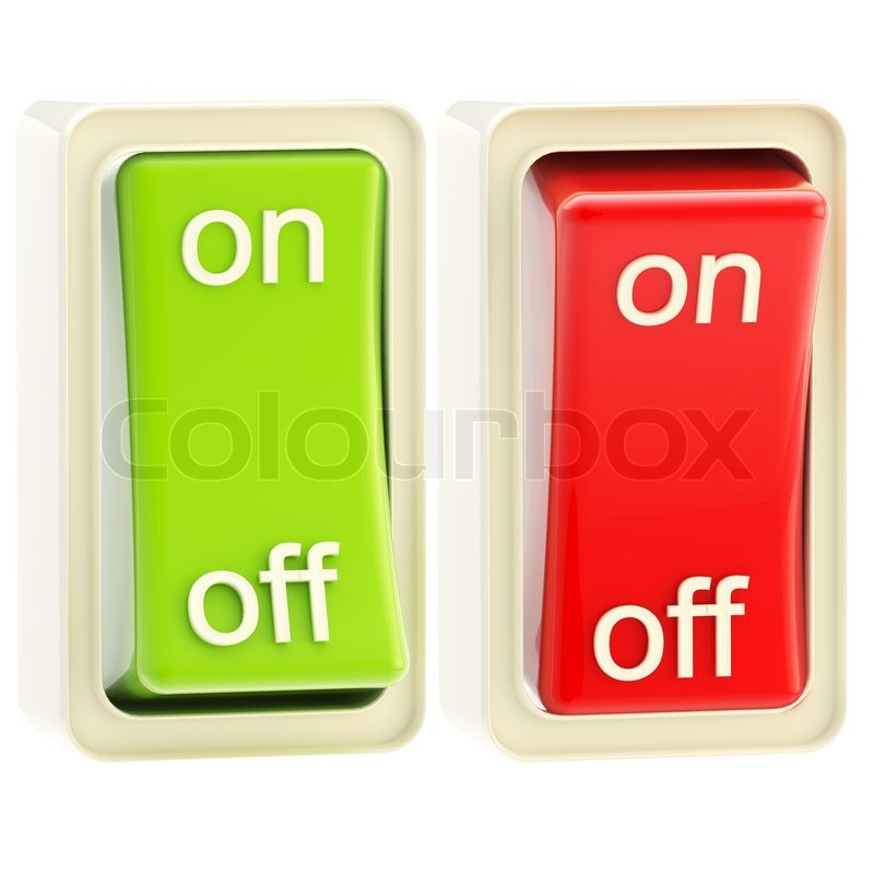 on and off switch glossy bright red and green tumblers isolated