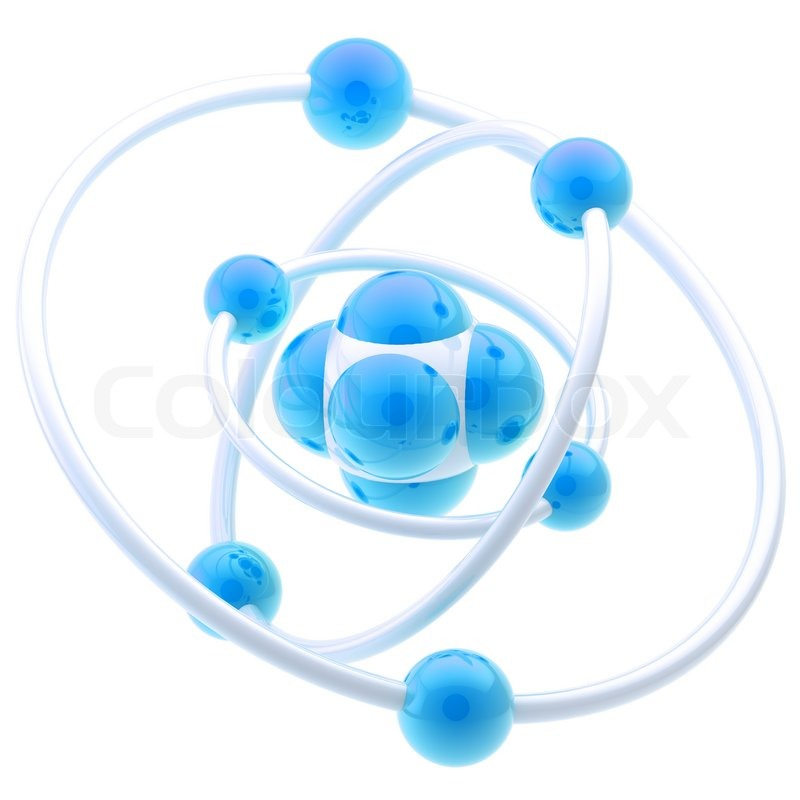 Stock image of 'Science and nano technology glossy emblem as atomic structure isolated on white'