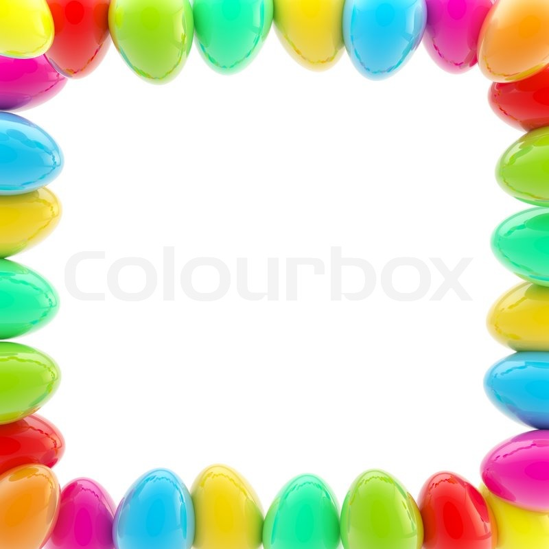 Glossy easter egg square colorful frame on white | Stock Photo ...