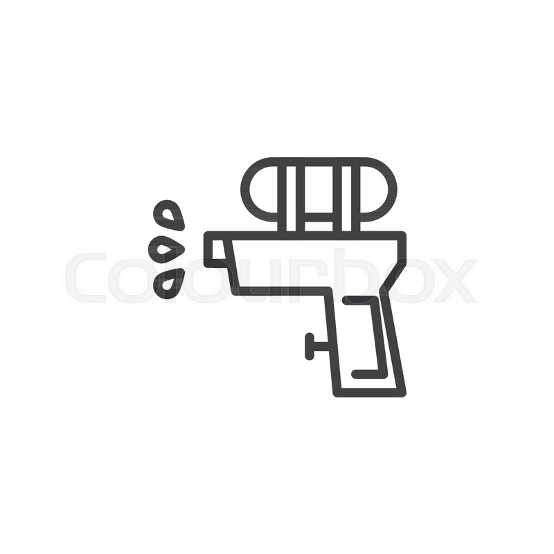 Water Gun Outline Icon Linear Style Sign For Mobile Concept And Web