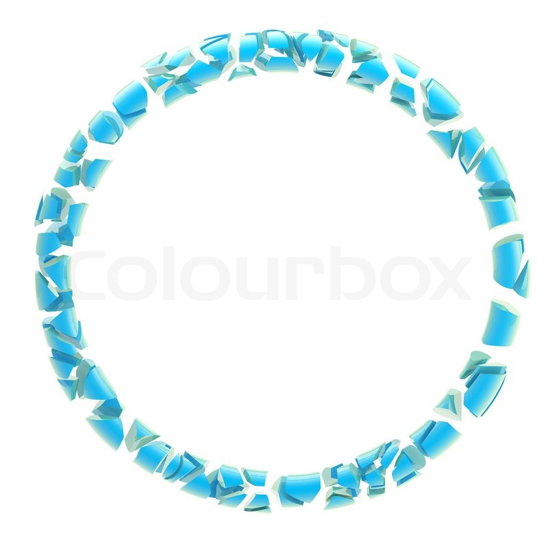Abstract glossy round frame made of blue debris isolated on white ...