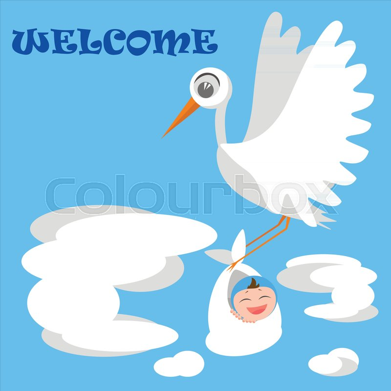 welcome baby boy greeting card with stork bird baby flat style