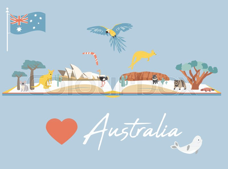 Australia Map Landmarks.Map Of Australia With Landmarks And Stock Vector Colourbox