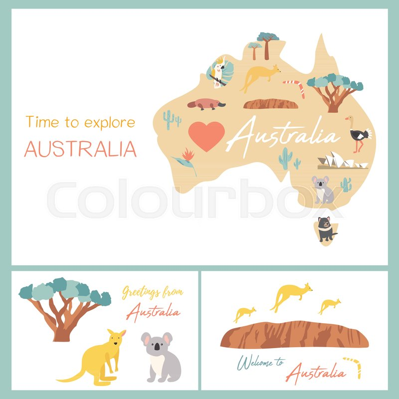 Map Of Australia Landmarks.Map Of Australia With Landmarks And Stock Vector Colourbox