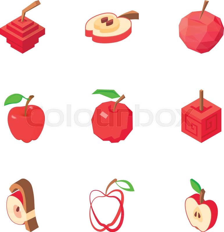 Apple icons set  Isometric set of 9       Stock vector