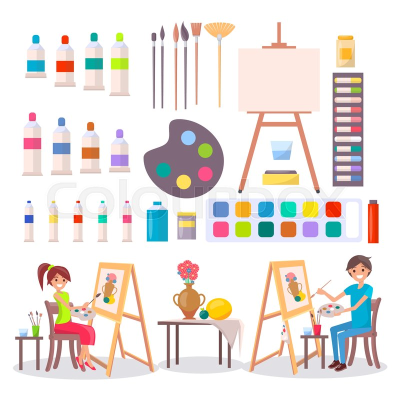 artists and collection of art supplies icons isolated vector