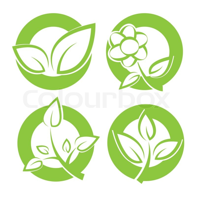 Set of green leaves round stickers Vector illustration, vector