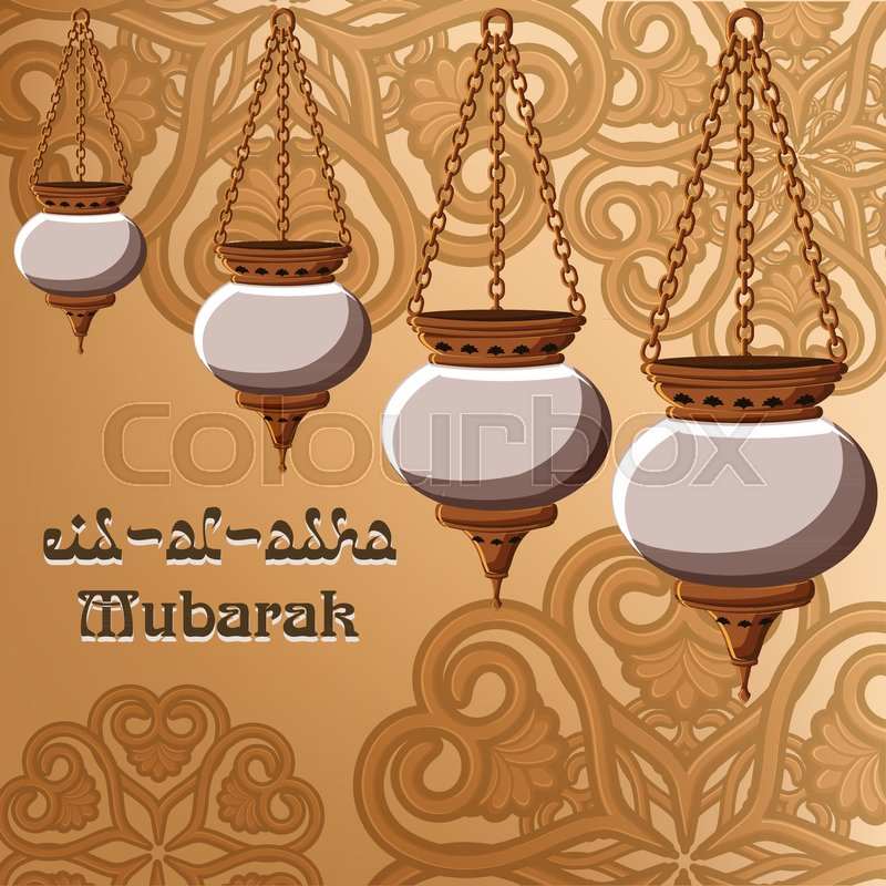 Eid al adha mubarak greeting card template with traditional arabic eid al adha mubarak greeting card template with traditional arabic lanterns golden ornament and text on golden background vector illustration m4hsunfo