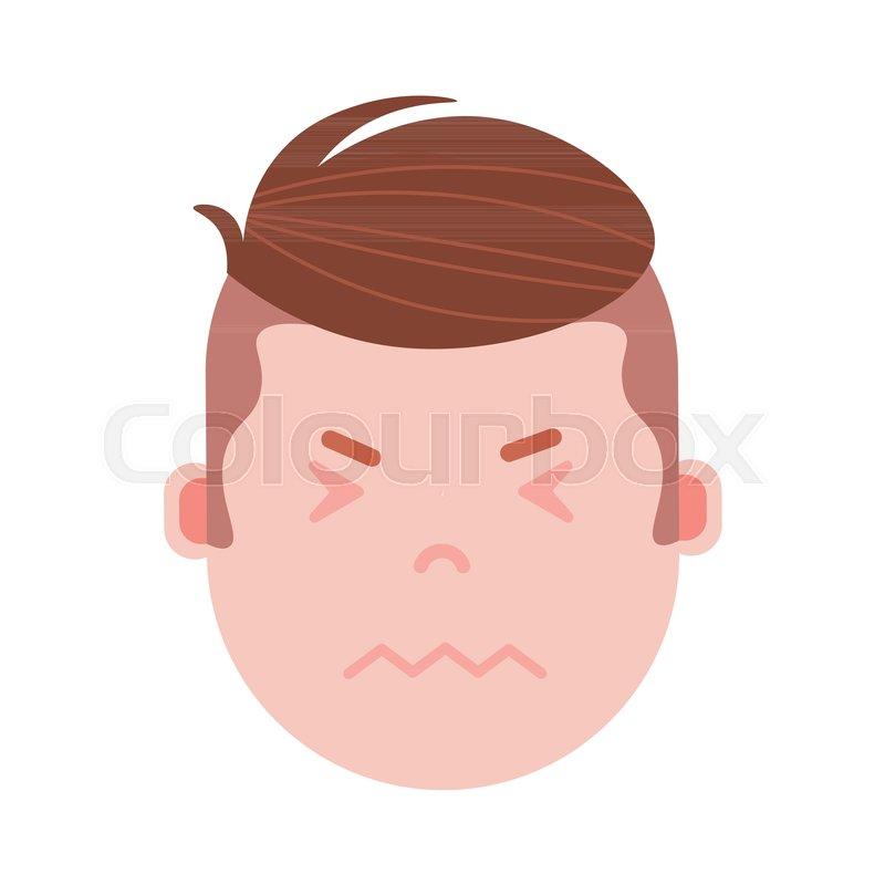 Boy head emoji personage icon with     | Stock vector